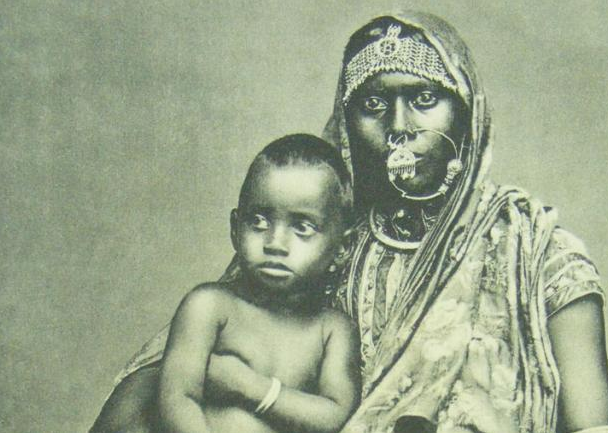 An indentured woman and child