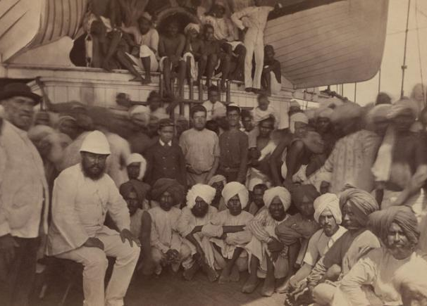 Indentured labourers on a ship